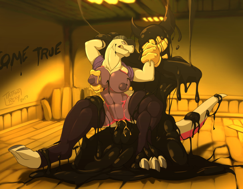 bendy and alice machine bendy ink x the Black canary and huntress kiss